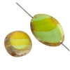 Fire polished 20x14mm Cut Flat Oval Green Yellow Marble Edge